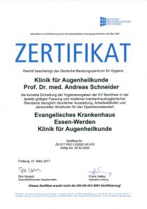 Zertifikat für die Augenklinik als Operationsstandort