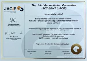 Zertifikat Stammzelltransplantation (JACIE)