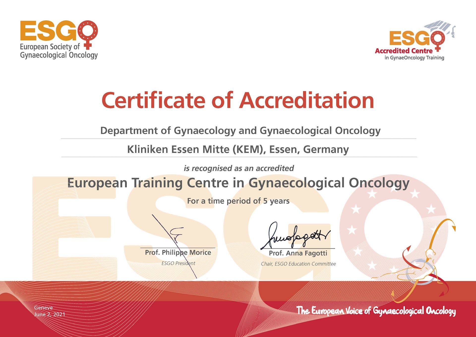 European Training Centre in Gynaecological Oncology
